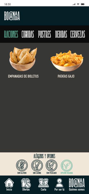 Raciones opción vegana
